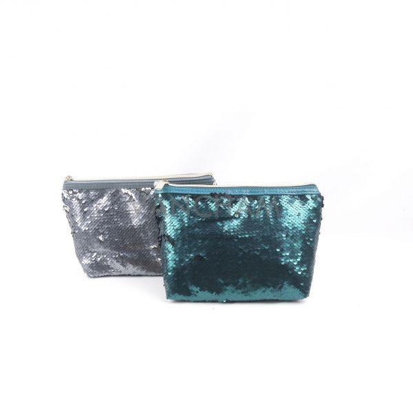 GREEN/GRAY SEQUIN COSMETIC BAG
