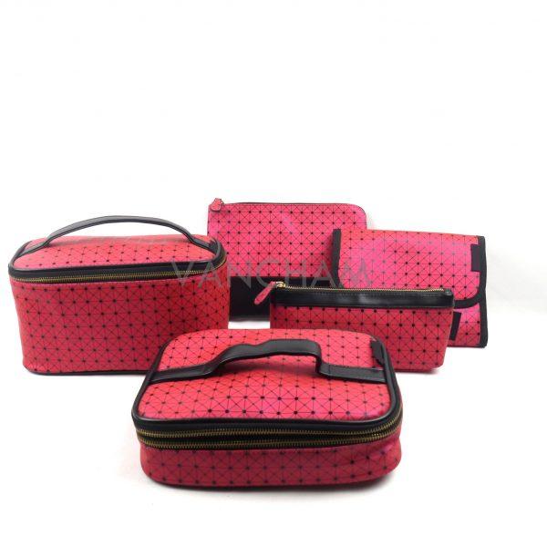 Pu Leather Cosmetic bags wholesale diamond lattice cosmetic bag