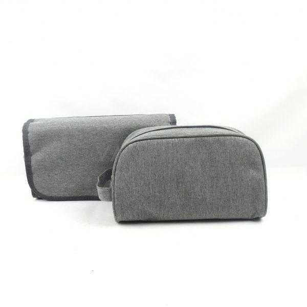 GRAY MENS MELANGE HANGING BAG/TOILETRY BAG WITH HANDLE