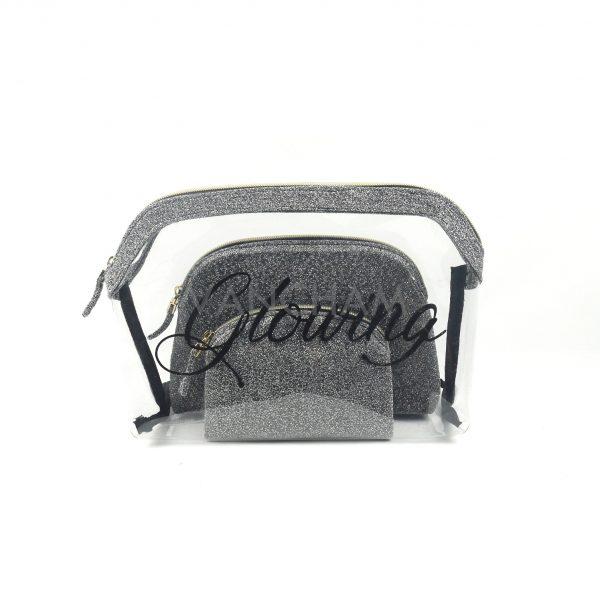 Fashion clear pvc 3pcs cosmetic bag set stitch waterproof makeup bag